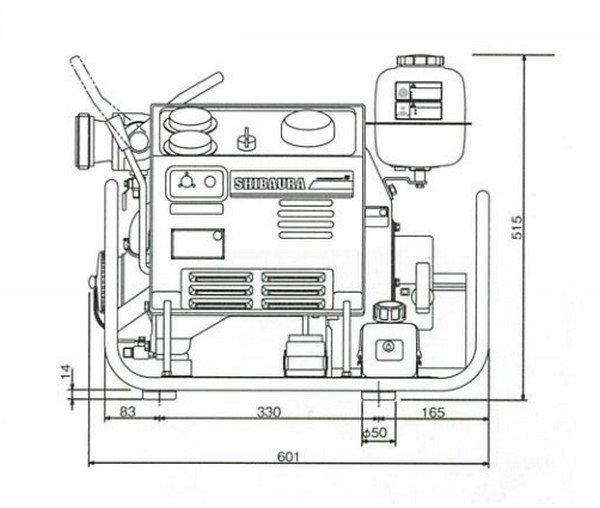 Bản vẽ mặt chính máy bơm chữa cháy FT300A