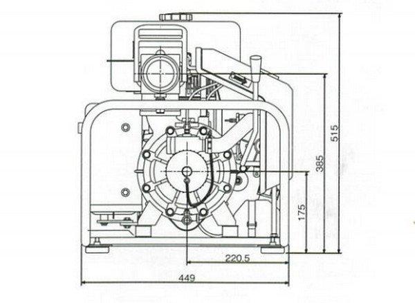 Bản vẽ mặt bên của máy bơm chữa cháy FT300 A
