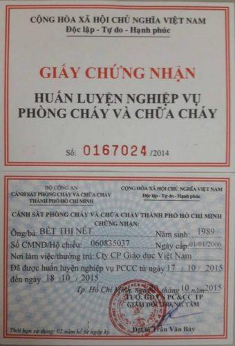 Giay Chung Nhan Tap Huan Pccc