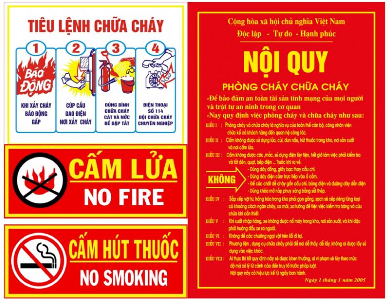 Bảng tiêu lệnh chữa cháy và nội quy phòng cháy chữa cháy