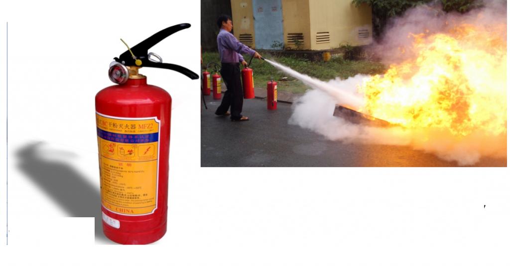 Bình bột chữa cháy được sử dụng để chữa đám cháy